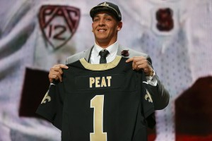 The Saints took Stanford OL Andrus Peat 13th overall.