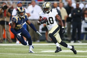 Brandin Cooks heads for the end zone against St. Louis.