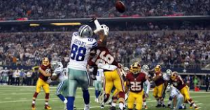 Bashaud Breeland working against Dez Bryant during 2014 Monday Night Fooball